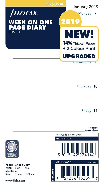 Filofax 19–68426Persönlichen Woche pro Seite 2019Diary 19-68426