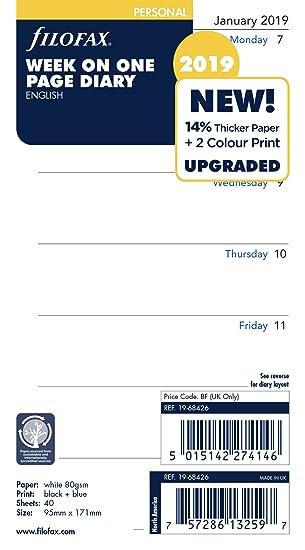 Filofax 19-68426 - Agenda personal semanal por página 2019