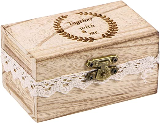 Yardwe Caja rústica de Madera para Bodas Caja de Anillo de ...