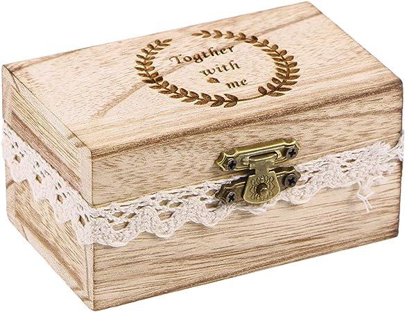 Yardwe Caja rústica de Madera para Bodas Caja de Anillo de Compromiso Tallada Anillo de joyería de la Vendimia Titular del Collar: Amazon.es: Hogar