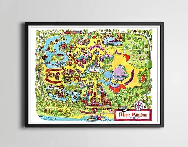 Amazon.com: Vintage 1973 DISNEY WORLD Park Map POSTER! (24\