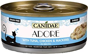 Canidae Adore Grain Free Wet Cat Food, Tuna, Chicken and Mackerel in Broth, 5.5oz