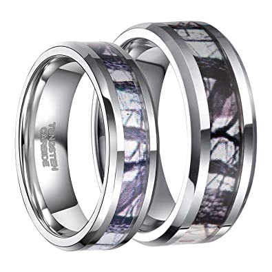 dfcf9aa5ab Frank S.Burton His & Hers Tungsten Camo Inlay Wedding Bands Couple Ring  Sets Free Engraving (Women Size 10& Men Size 10.5) | Amazon.com
