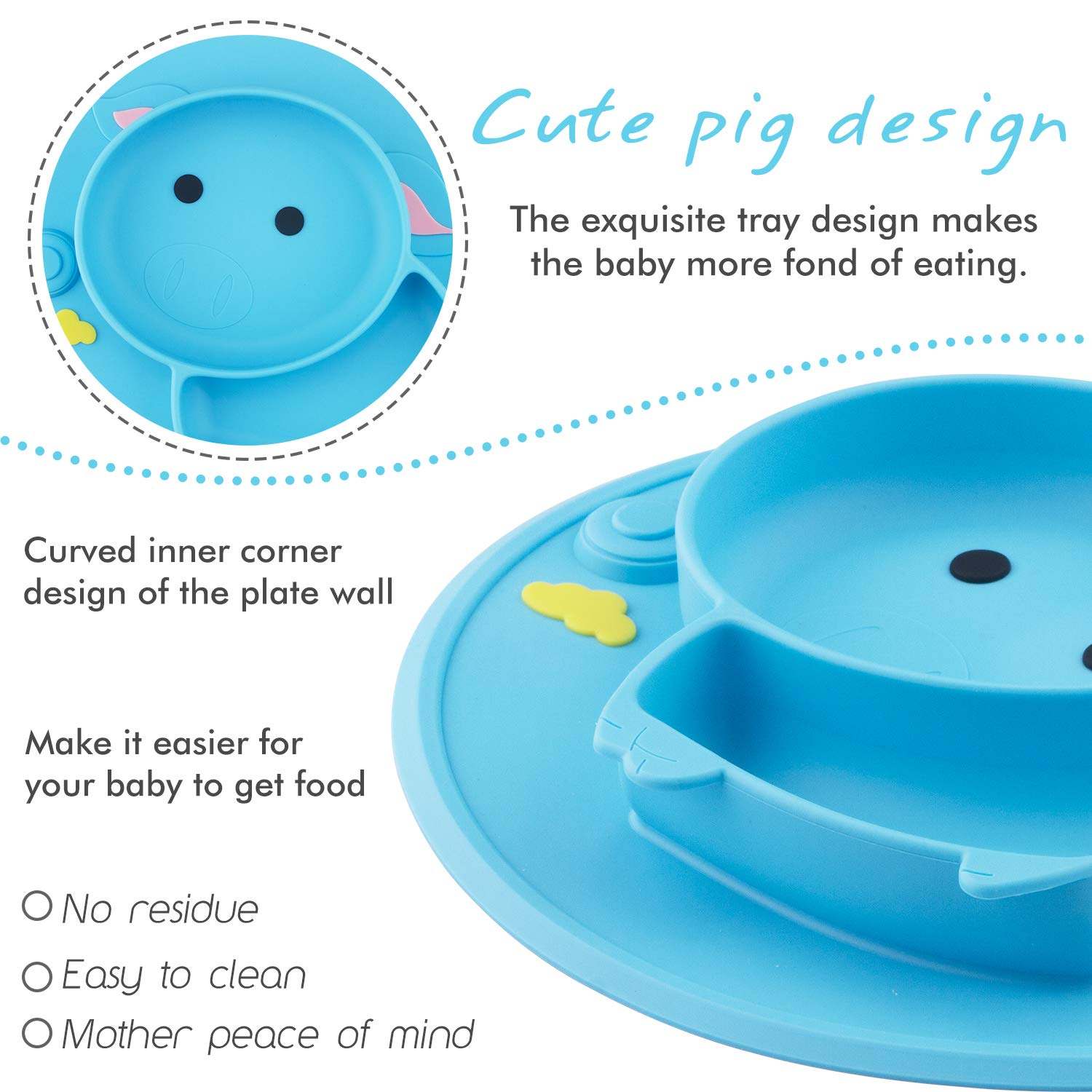 Portable Baby Plate for Toddlers and Kids Dishwasher and Microwave Safe Silicone Placemat 22 * 20 * 2.5cm BPA-Free FDA Approved Strong Suction Plates for Toddlers Qshare Toddler Plate