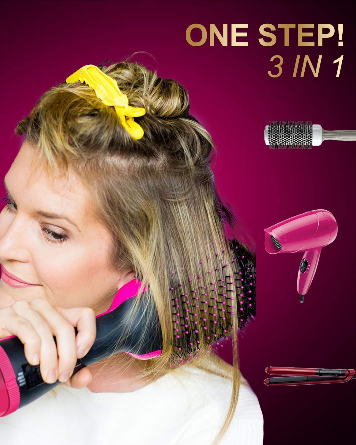 One Step Hair Dryer and Volumizer – iMethod 3-in-1 Ionic Ceramic Hot Air Brush Styler for Any Hair Types, Get Salon Blowouts at Home in Half the Time