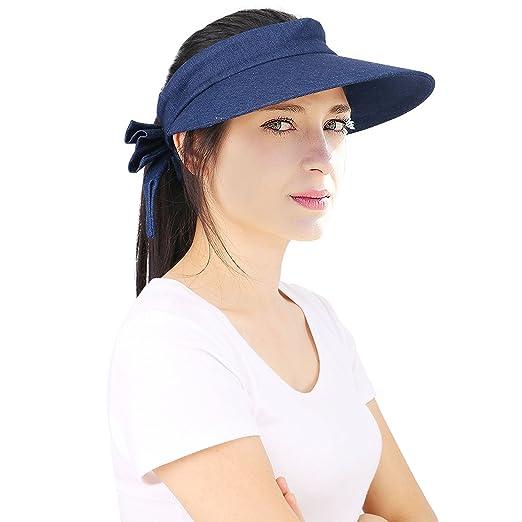 794159926bf5dd Harcadian Men's Packable Wide Brim Visor Bowknot Summer Hat Denim at ...