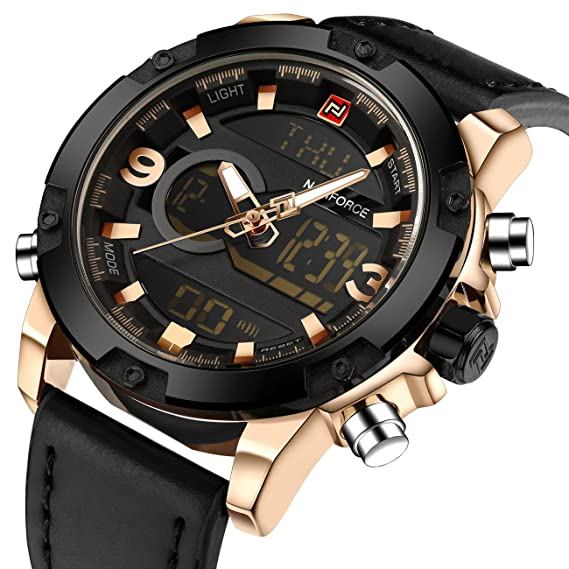 Reloj deportivo analógico digital de moda para hombre Reloj con pantalla dual, piel, tono dorado, militar, impermeable, luz, cronógrafo, alarma, ...