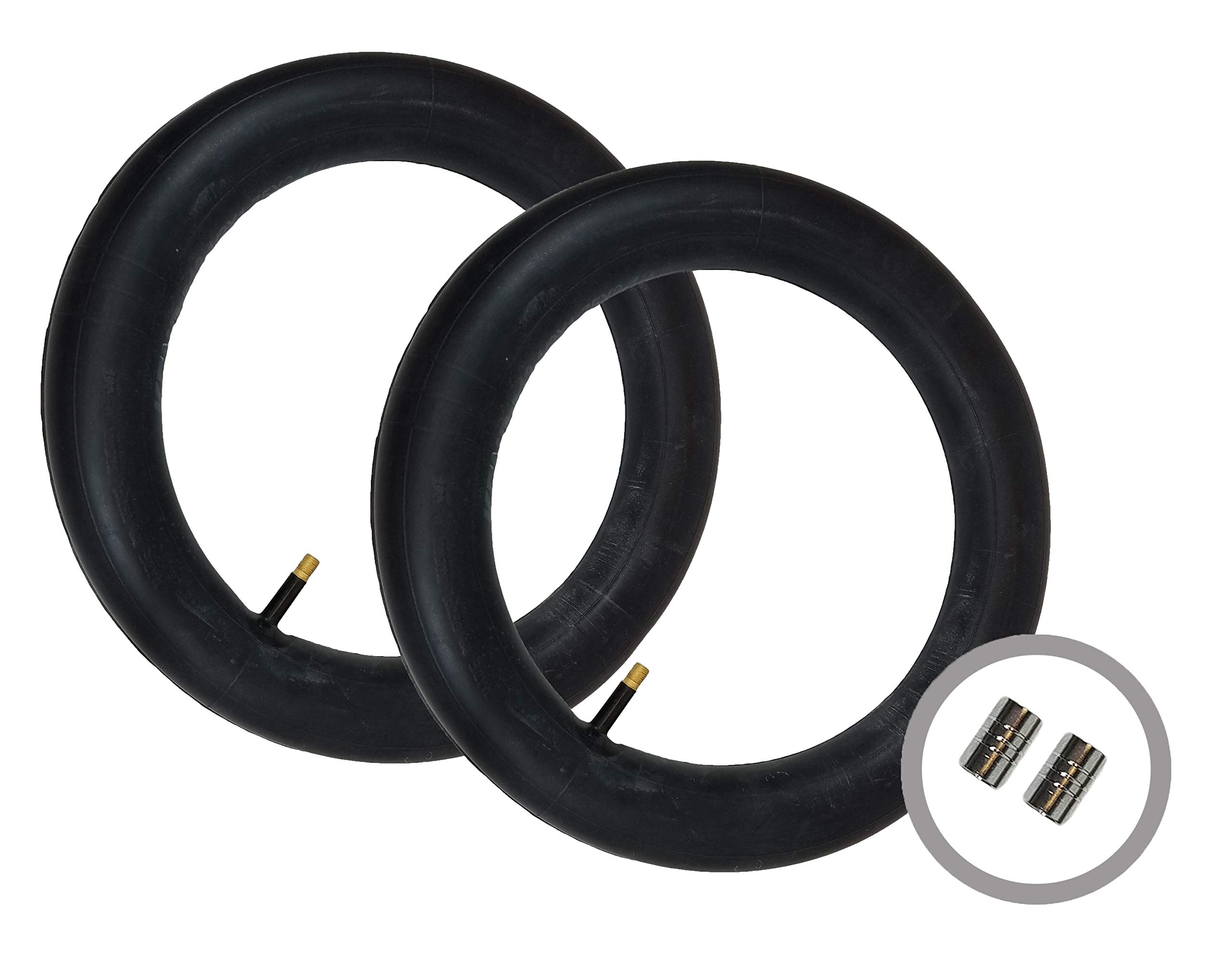 2 x Bob Revolution Se Duallie Stroller/Pushchair - Rear Inner Tubes 16'' - Straight/Auto Valve with Metal Valve Caps by BOB (Image #1)
