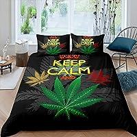 Feelyou Cannabis Leaves Bedding Set Marijuana Leaf Duvet Cover Set for Boys Girls Adults Marijuana Weed Green Leaf…