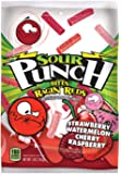 Sour Punch Bites, Ragin' Reds Watermelon, Strawberry, Cherry & Raspberry Chewy Candy, 5oz Bag(Pack of 12)