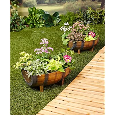 Set of 2 Half Barrel Planters : Garden & Outdoor