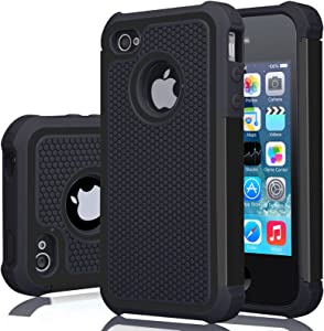 iPhone 4S Case, iPhone 4 Cover, Jeylly Shock Absorbing Hard Plastic Outer + Rubber Silicone Inner Scratch Defender Bumper Rugged Hard Case Cover for Apple iPhone 4/4S - Black