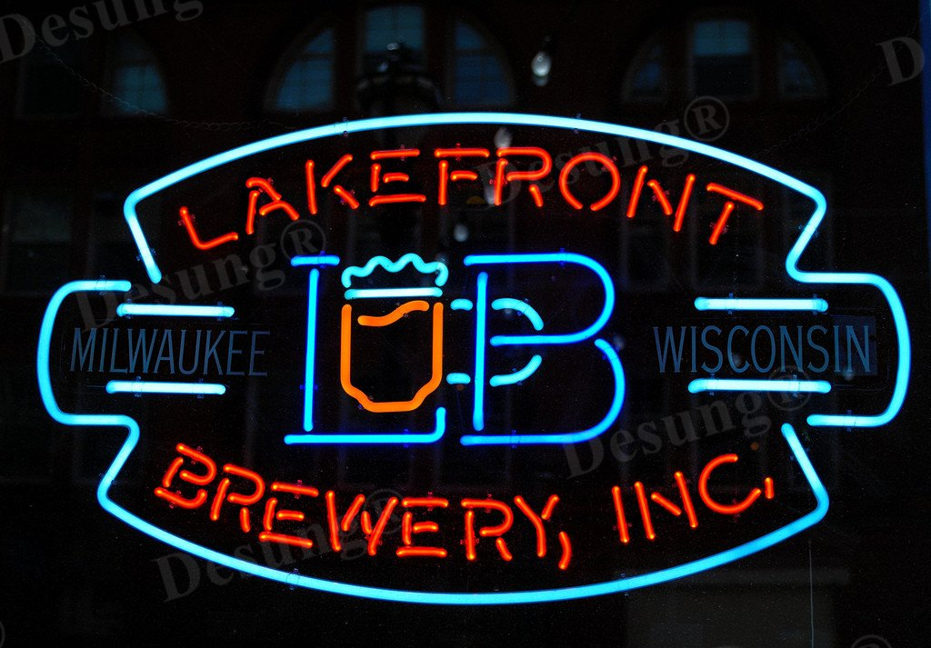 Desung 24''x20'' Lakefront Brewery Inc Neon Sign (VariousSizes) Beer Bar Pub Man Cave Business Glass Lamp Light DC138