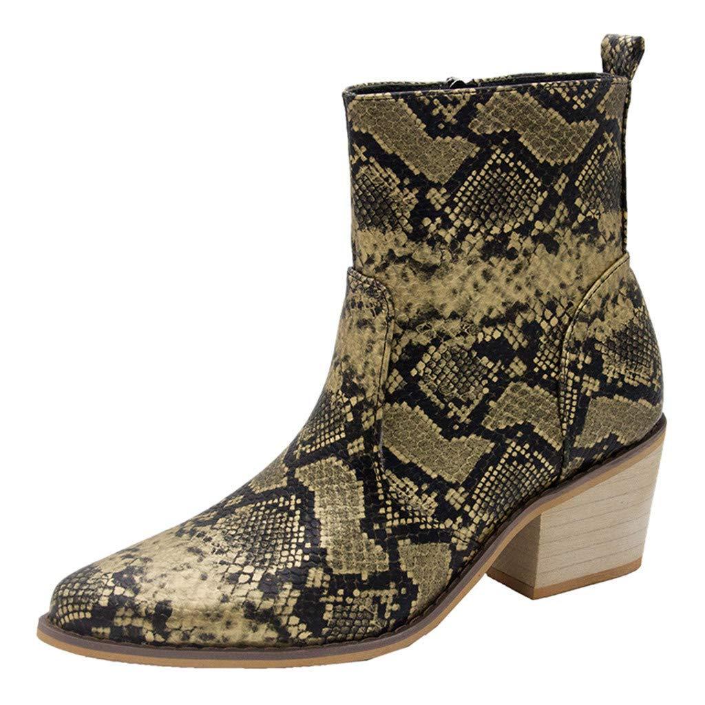 Fashion Women's Ankle Boots Snakeskin Mid Calf Low Chunky Heel Zipper Slip on Comfty Sexy Boot (Yellow, Size:41/US:8.0)