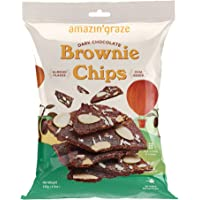 Amazin' Graze Dark Chocolate Brownie Chips 140g - Healthy Crispy Chocolate Snack with Almond Flakes, Chia Seed and…