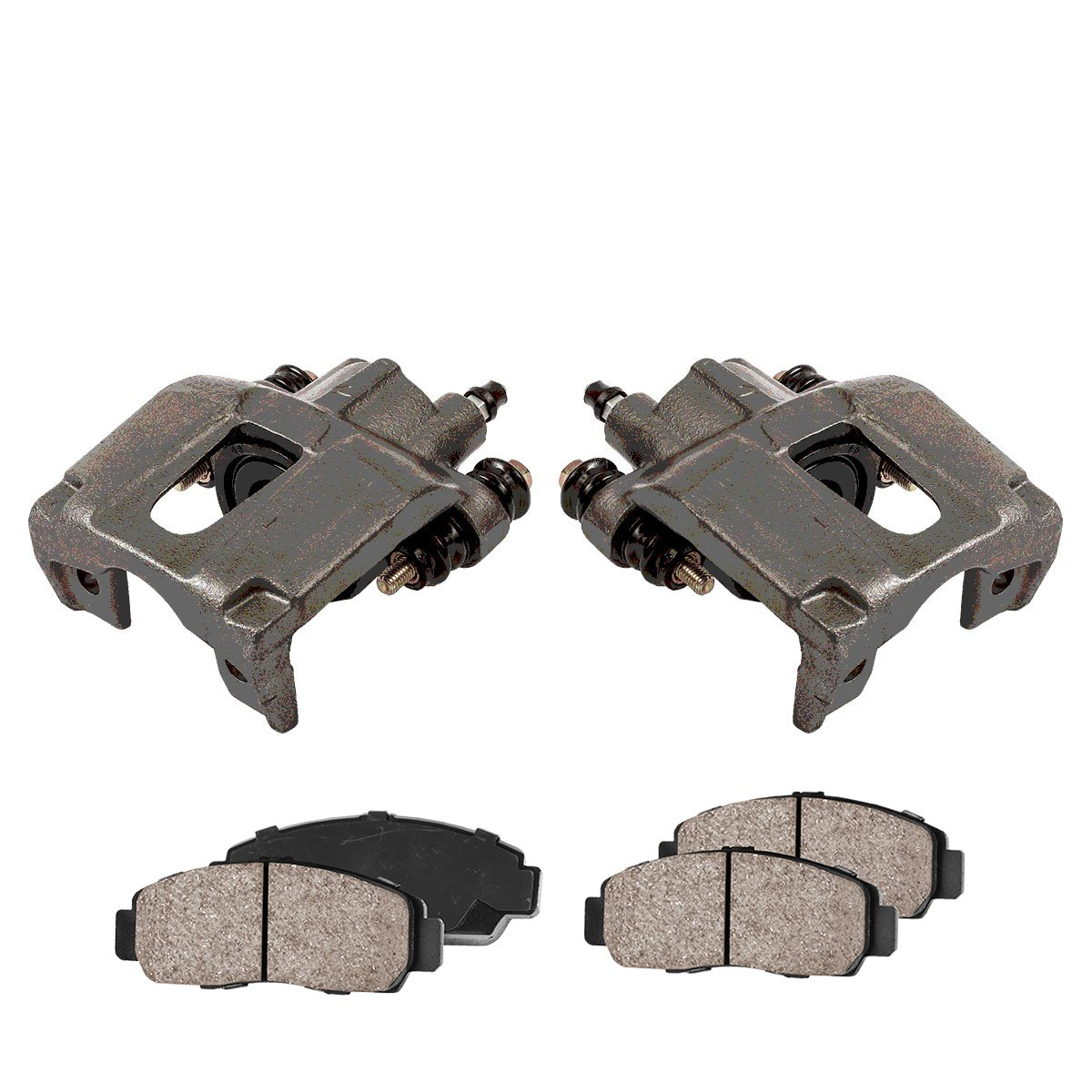 REAR Premium Loaded OE Caliper Assembly Set + Quiet Low Dust Ceramic Brake Pads CCK02347 4 2
