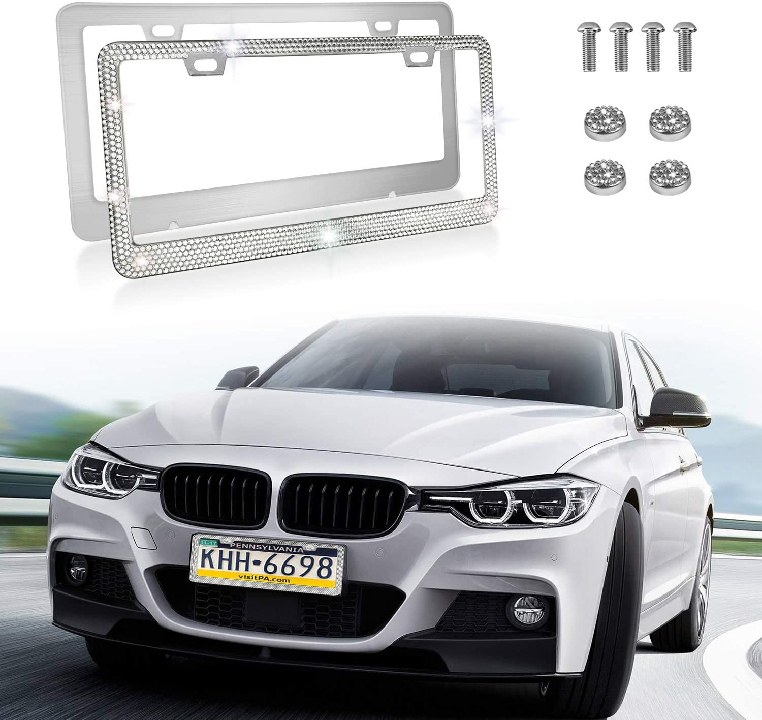 2Pack Rhinestone License Plate Frame with Premium Gift Box and1000 pcs XL size AA SS16 Luxury Shiny Handmade Waterproof Rhinestones,Included Screw//Rhinestone Screw Cap kit Black License Plate Frame