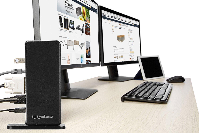 AmazonBasics USB 3 0 Universal Laptop Dual Monitor Docking Station
