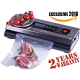 PREMIUM VACUUM SEALER SYSTEM - AIR SEALING - Best Food Preservation System for Women - Portable-Automatic machine - Stainless Steel - Digital Scale - Starter Kit - LED Display - Dry & Wet Food Modes