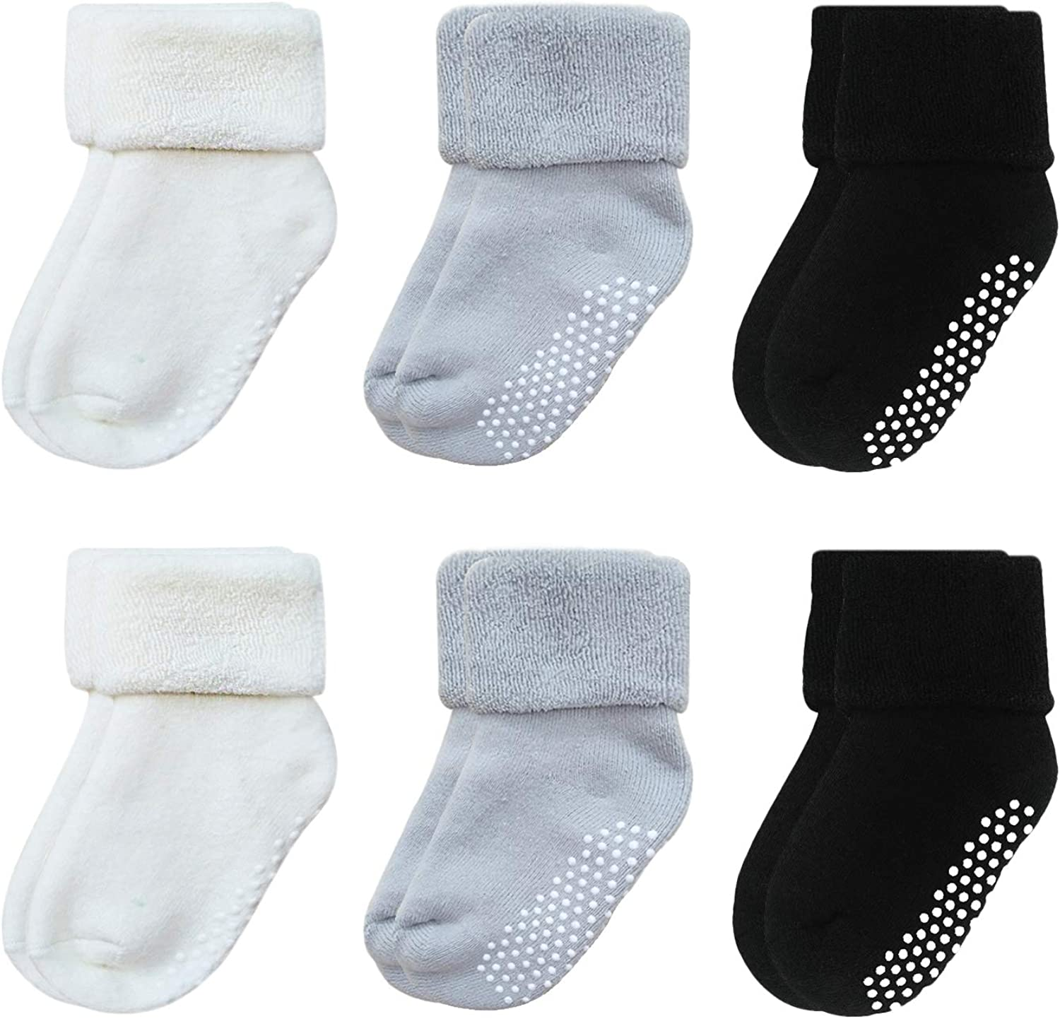 VWU 6 Pack Baby Socks with Grips Toddler Thick Cotton Socks Anti Slip 0-5 Years Old