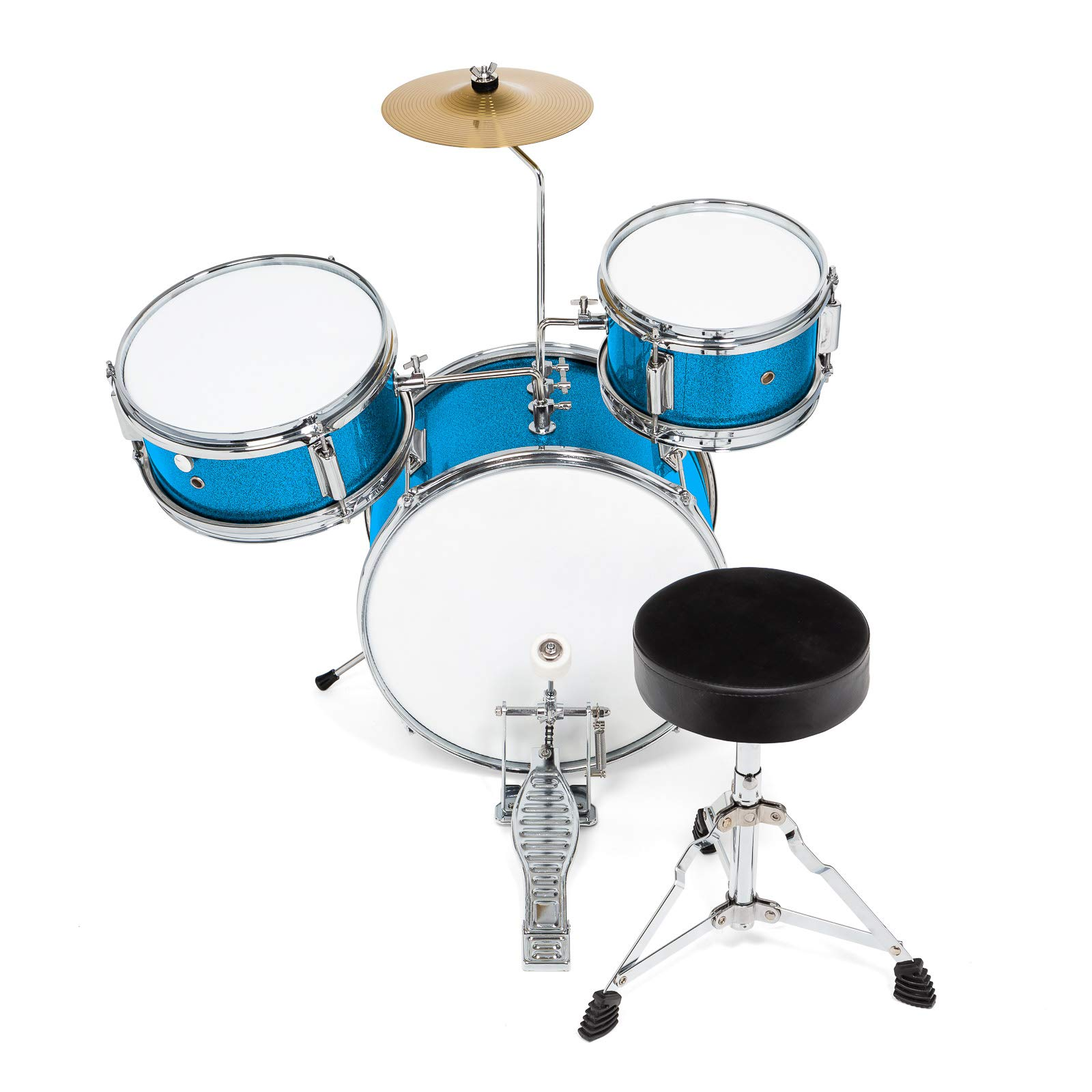 Ashthorpe 3-Piece Complete Kid's Junior Drum Set - Children's Beginner Kit with 14'' Bass, Adjustable Throne, Cymbal, Pedal & Drumsticks - Blue by Ashthorpe (Image #3)