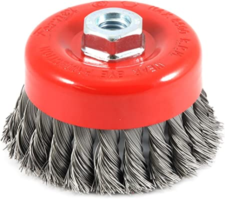 2-3//4-Inch-by-.020-Inch Forney 72757 Wire Cup Brush Knotted with 5//8-Inch-11 Threaded Arbor