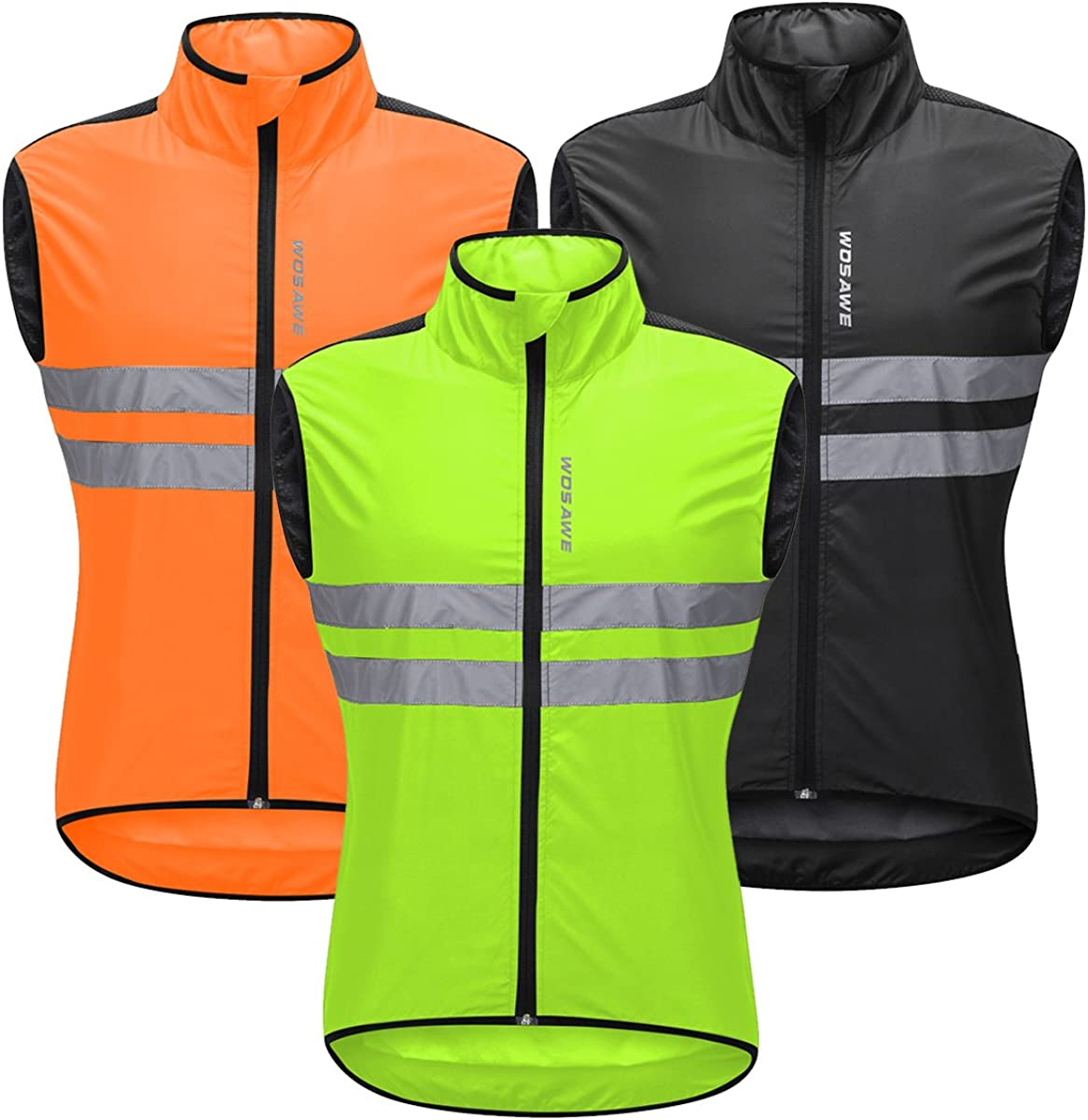 2XL Green WOSAWE Mens High Visibility Cycling Wind Vest Sleeveless Reflective Bicycle Gilet