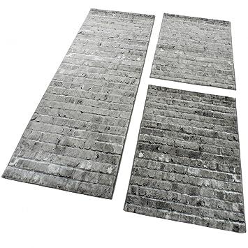 Teppich Läufer Modern paco home bettumrandung 3 tlg designer teppich läufer steinwand