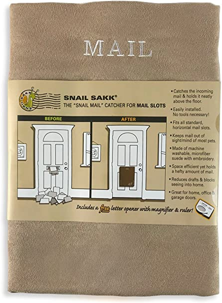 office protects privacy and more reduces draughts   Basket Letter Cage Post Box Disabled Elderly Maternity Hardware Excluder No tools or screws needed SNAIL SAKK: Mail Catcher For Letterboxes CHOCOLATE and garage doors For home Space efficient