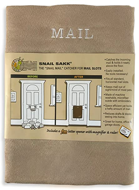 SNAIL SAKK: Mail Catcher For Mail Slots   TAN. No Tools/screws Necessary