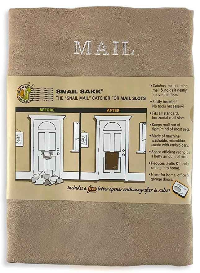 SNAIL SAKK: Mail Catcher For Mail Slots   TAN. No Tools/screws Necessary!  Space Efficient, Reduces Drafts, And More! For Home, Office, And Garage  Doors.