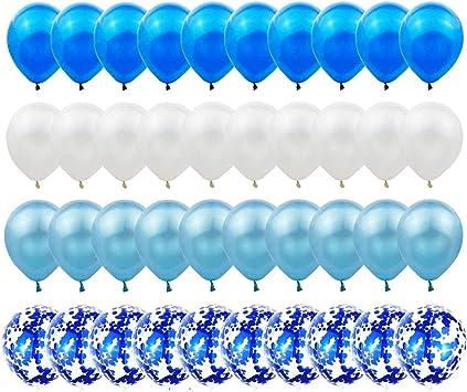 Gxhong Globos De Confeti Globos De Látex Azul Blanco 60pcs Globos De Helio De 12 Globos