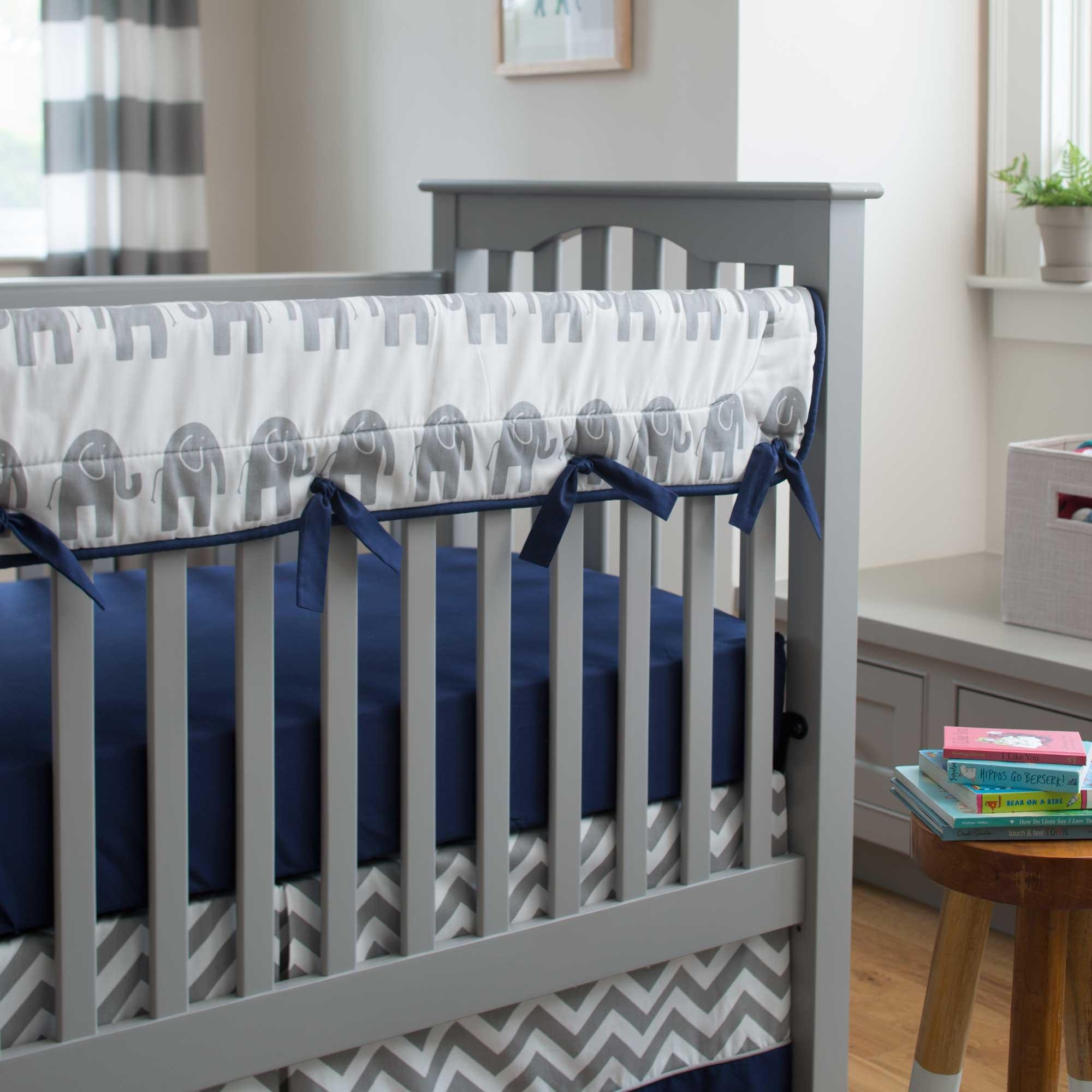 Carousel Designs Navy and Gray Elephants Crib Rail Cover by Carousel Designs