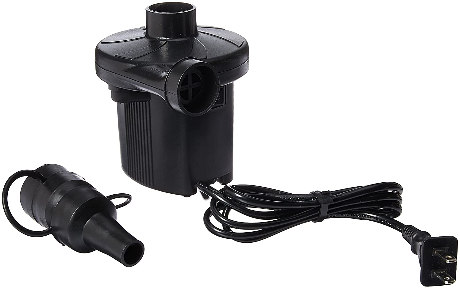 HappyCell 150W Quick-Fill AC Electric Air Pump 110-120 Volt to Inflate/Deflate Inflatable Boats Mattresses with 3 Assorted Nozzles Perfect for Using Indoors(60Hz, Black) FBA_HC-WT-floattoy0229