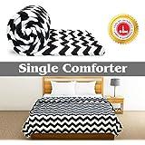 Divine Casa Luxor Abstract Microfibre Single Comforter - Zig Zag Black (110 GSM)