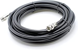 BNC Cable, Black RG6 HD-SDI and SDI Cable (with Two Male BNC Connections) - 75 Ohm, Professional Grade, Low Loss Cable - 35 feet (35')