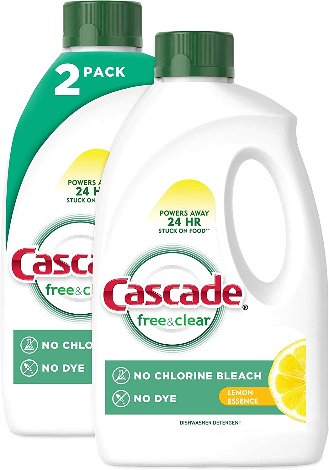 Cascade Free & Clear Gel Dishwasher Detergent, Lemon Essence, 2 Count (60 fl oz ea)