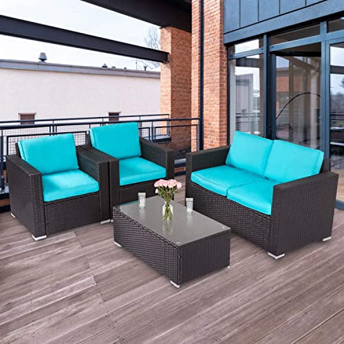 Kinbor 4 PCs Rattan Patio Outdoor Furniture Set Garden Lawn Sofa Sectional Set Black