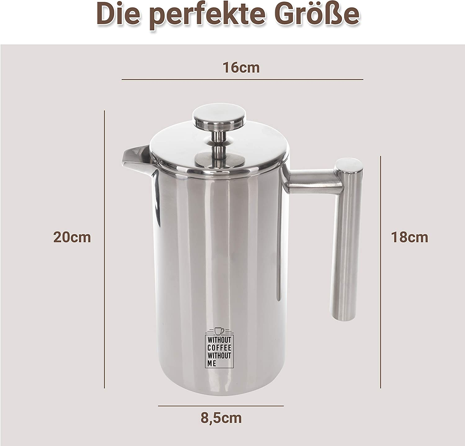 Replacement Filter Scale for Perfect Preparation Premium French Press Cafeti/ère Stainless Steel 0.6 L Insulation Effect Thanks to Double-Walled Design