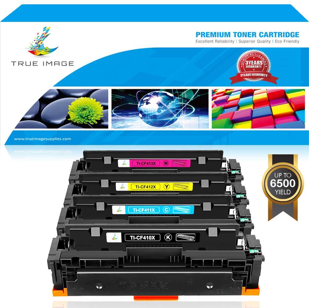 True Image Compatible for HP 410X 410A CF410X CF410A Toner Cartridge for HP Color Laserjet Pro MFP M477fdw M477fnw M477fdn M477 M452dw M452nw M452dn M452 M377dw Toner Ink (CF410X CF411X CF412X CF413X)