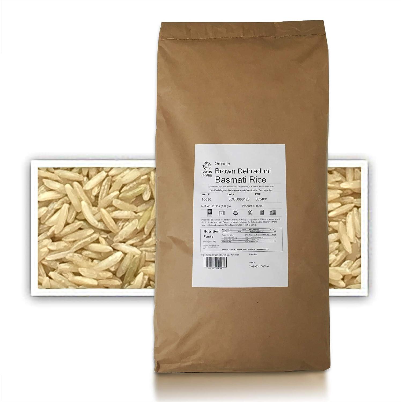Lotus Foods Gourmet Organic Brown Basmati Rice, 25 Pound