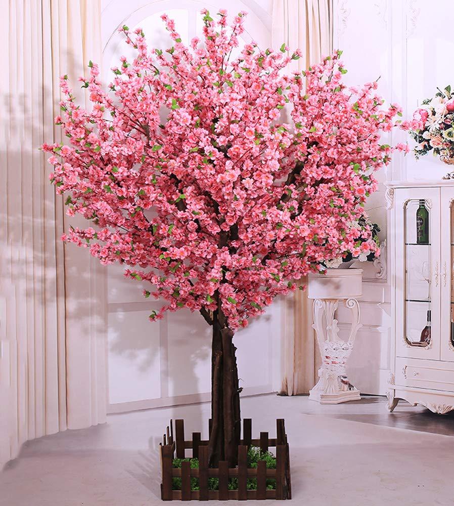 j-beauty 日本のレストラン チャイニーズレストラン 装飾 人工桜 フルブルーム リアルツリー トランク シルクフラワー 5ft T ピンク B07GFDTXH8 Round-pink 5ft T