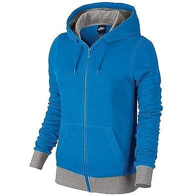 9726f288e149 Amazon.com  Nike Women s Club French Terry Full Zip Hoodie - Blue ...