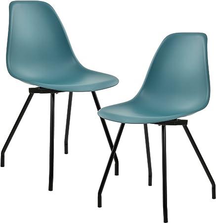 [en.casa] Kit de 2 Chaises de Cuisine Chaise de Salle à Manger Chaises de Bureau Design Plastique Acier Revêtu par Poudre Turquoise 83 x 46 cm