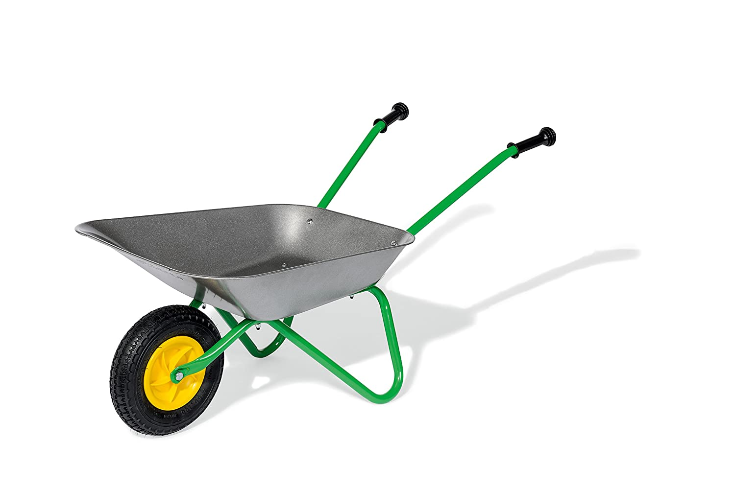 rolly toys 271757 Metal Children's Wheelbarrow Air Tyre | Children from 2.5 Years | Colour: Grey/Green/TÜV/GS-tested