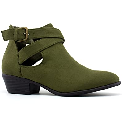 Wild Diva Women's Manny-30 Crisscross Buckle Bootie, TPS Manny-30 Olive Size