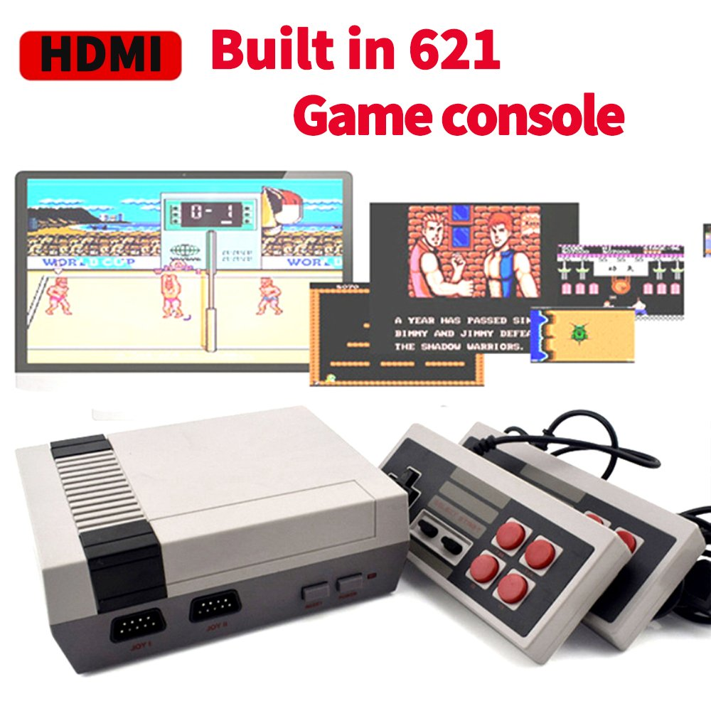 H&ZT Craft HD Classic Game Consoles,FC Mini Game Consoles Built-in 621TV Video Games With Double Controllers (621 Game)