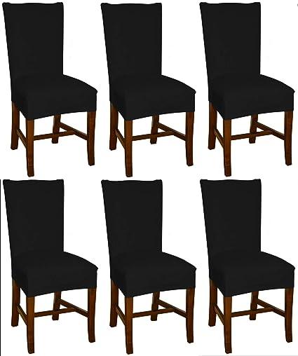Bellboni - Fundas para sillas, fundas elásticas, cubiertas para sillas, pack de 6, negra