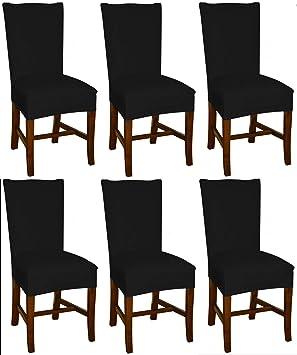 Bellboni - Fundas para sillas, fundas elásticas, cubiertas para sillas, pack de 6, negra: Amazon.es: Hogar