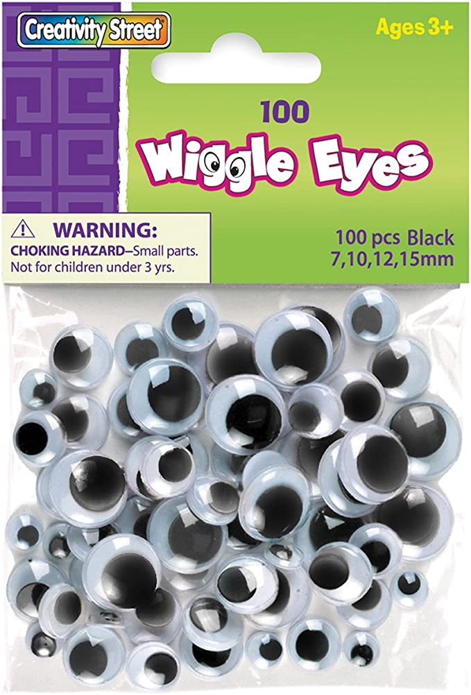 LoveinDIY 308 Pieces Assorted Size Self Adhesive Sticky Wiggle Googly Eyes Black White